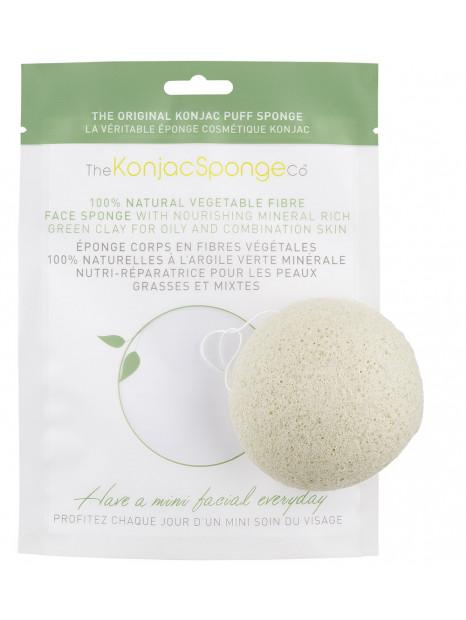 Éponge Konjac à l'argile verte française - peaux mixtes - Konjac Sponge Co.