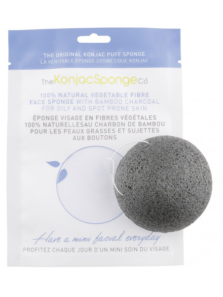Facial puff sponge 100% pur Konjac with bamboo charcoal - oily & spot prone skin - Konjac Sponge Co.